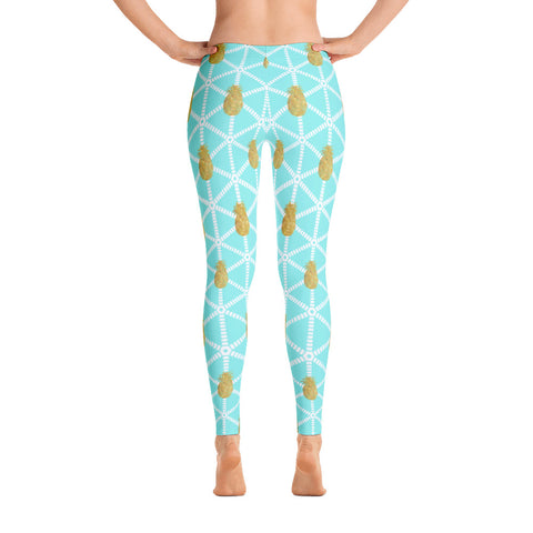 Aqua and White with Gold Pineapples Women's Leggings
