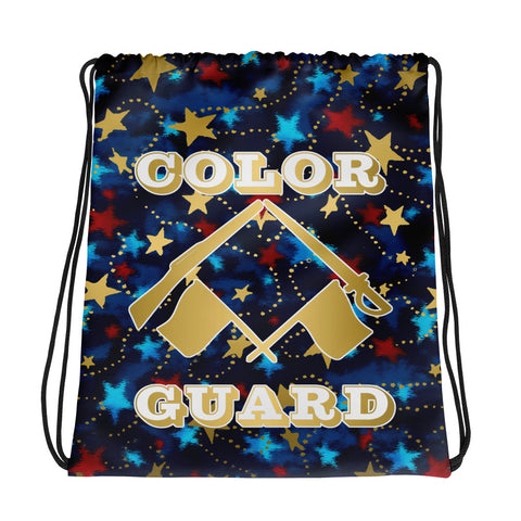 Color Guard Patriotic with Gold Stars -Cinch Sak- Perfect for Teams can be Customized