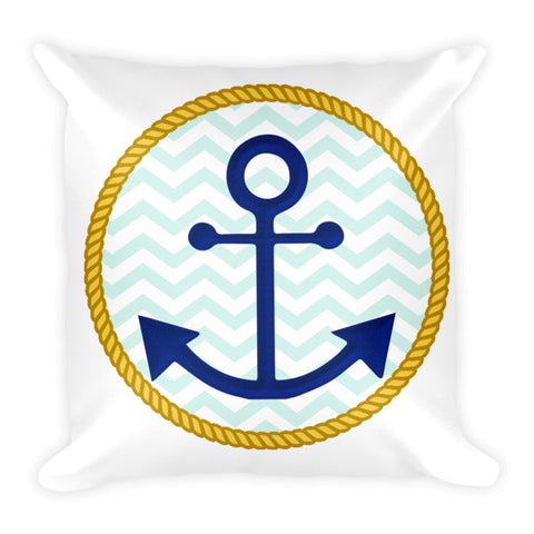 Anchor Pillow with Chevron Background