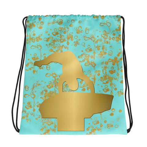 Gymnastics Vault Cinch Sak in Aqua and Gold Flake-Great for teams and clubs