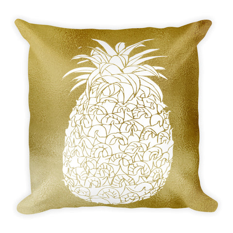 Gold and White Large  Pineapple Square Throw Pillow