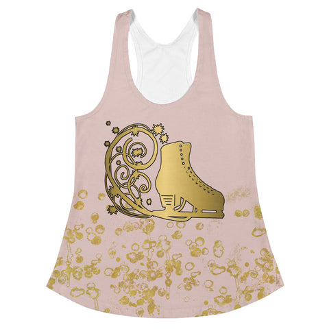 Figure Skating Pink and Gold Flake Women's Racerback Tank Top