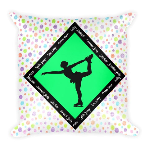 Figure Skating Pillow Featuring Skate Phrases