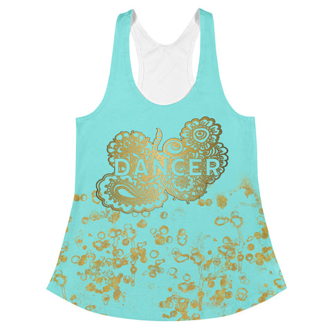 Dancer Doodle Women's Racerback Tank in Aqua and Gold