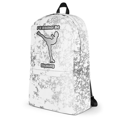I'd Rather Be Skating Skating Design in White with Silver Flakes- All-Over Print Backpack