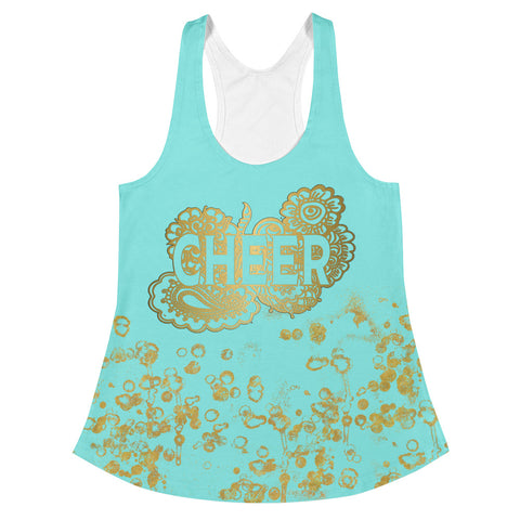 Cheer Doodle Women's Racerback Tank in Aqua and Gold Flake