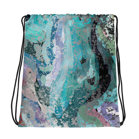 Abstract Painter Design wit Silver Flakes - by Hxlxynxchxle All-Over Print Drawstring Bag