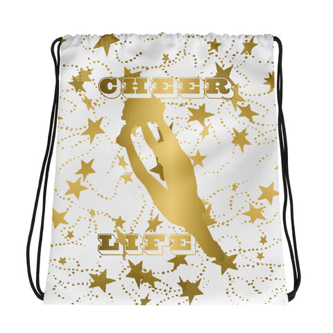 Cheer Life Silhouette in Gold with Gold Stars- Style 15 -Cinch Sak