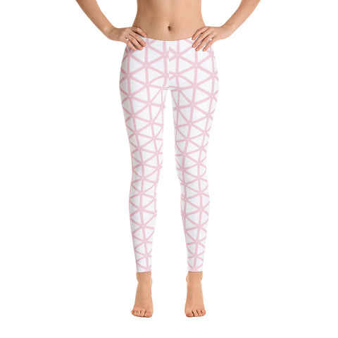 White With Pale Pink Gide Women's Leggings