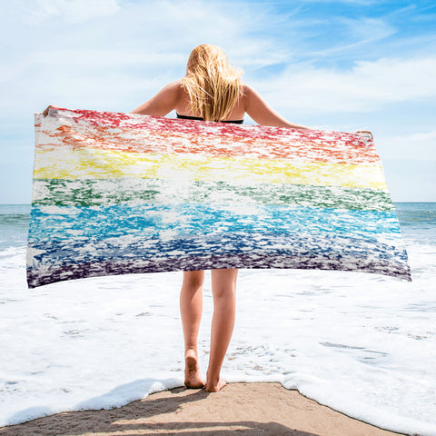 LGBTQ+ Pride Flag Distressed Design  Beach Towel