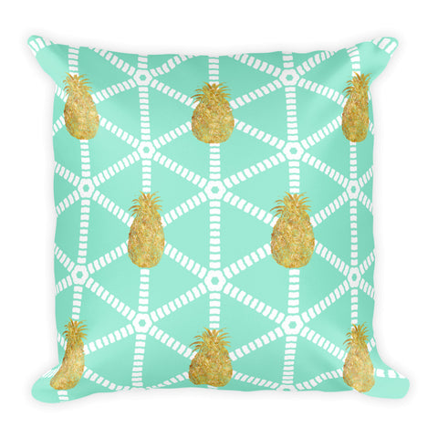 Mint and Gold Pineapple Square Throw Pillow