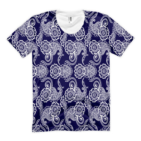 Navy and White Paisley Women's Sublimation t-shirt