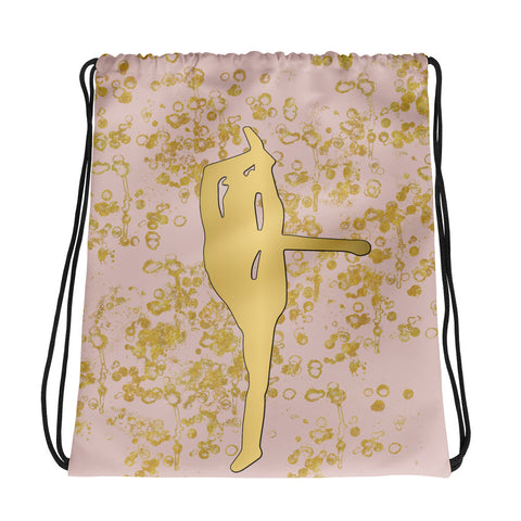 Cheer Silhouette in Gold and Pink -Cinch Bag- Great for Cheer Teams or Squads