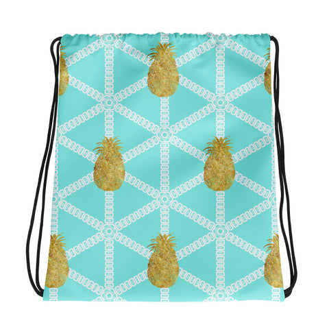 Aqua and White with Gold Pineapples Cinch Sak