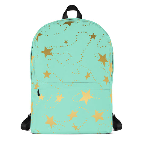 Mint and Gold Stars Fashion Backpack