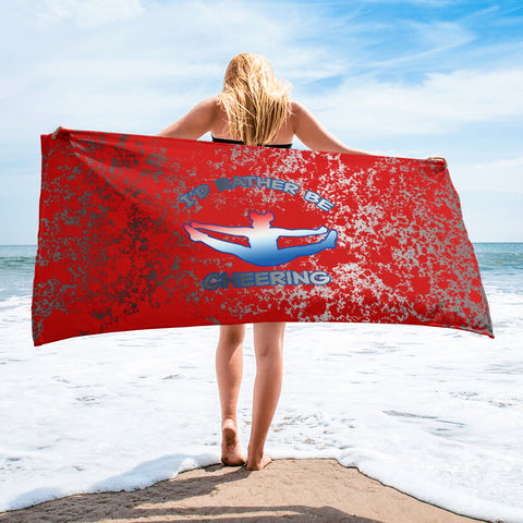 I'd Rather Be Cheering Beach Towel- Silver and Red