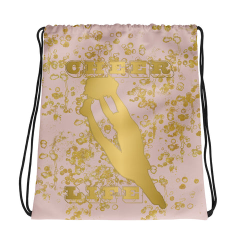 Cheer Drawstring Bag in Pink and Gold Flake-Great for Teams or Squads
