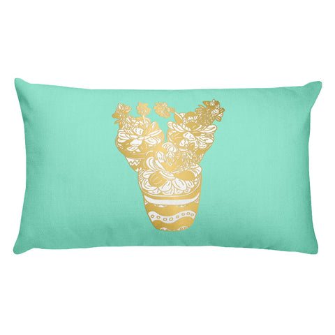 Trio of Succulents in Gold -Rectangular Pillow