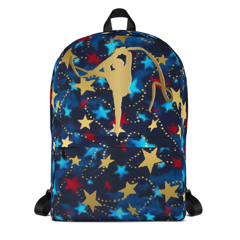 Rhythmic Gymnastics Patriotic with Gold Stars -Backpack- Perfect for Teams can be Customized