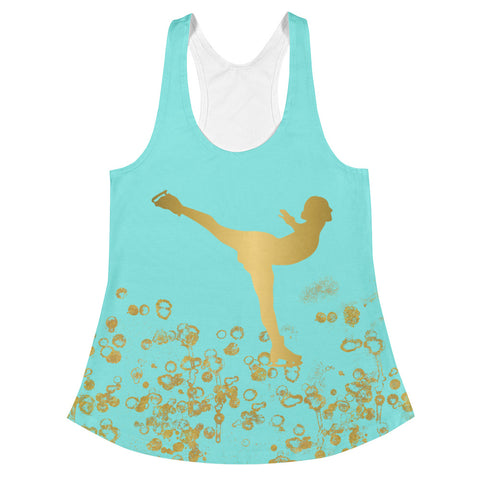 Figure Skating Women's Racerback Tank Aqua and Gold Flake