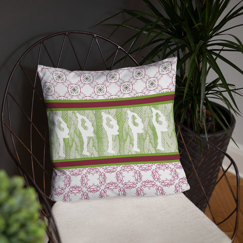 "Figure Skating ""Sweater"" Design Throw Pillow in Cranberry and Green"