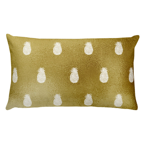 Gold Pineapples Rectangular Throw Pillow