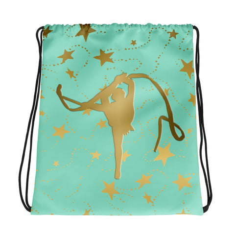 Rhythmic Gymnastics Mint with Gold Stars -Cinch Saks- Perfect for Teams can be Customized