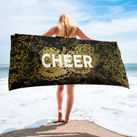 Cheer Doodle Black and Gold Patina Beach Towel