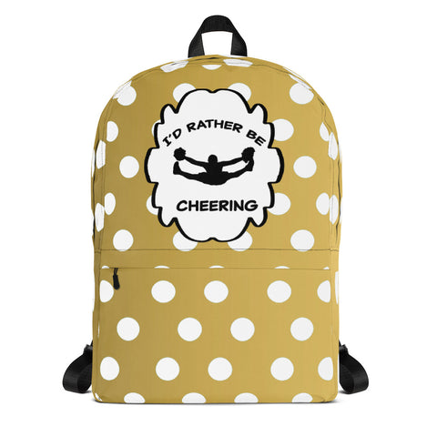 I'd Rather Be Cheering in Gold and White Dots -Backpack-Great for teams, clubs and squads