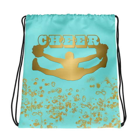 Cheer Backpack in Aqua and Gold Flakes- Perfect for Cheer Teams and Squads