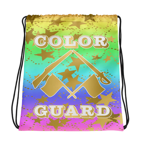 Color Guard Rainbow with Gold Stars -Cinch Sak- Perfect for Teams can be Customized