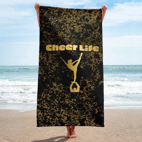 Cheer Life Black and Gold Patina Beach Towel
