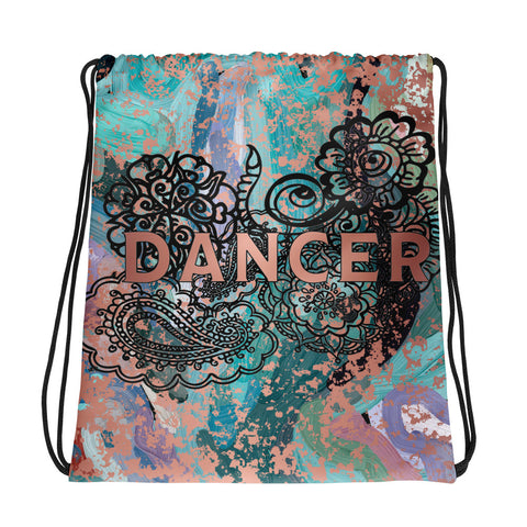 Dancer Doodle Abstract Design with Rose Gold Patina -All-Over Print Drawstring Bag