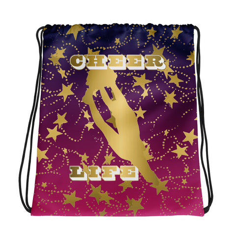 Cheer Life Silhouette in Gold with Gold Stars- Style 2 -Cinch Sak