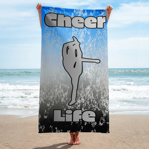 Cheer Life Beach Towel on Blue to Black Gradient with Silver Flake Design