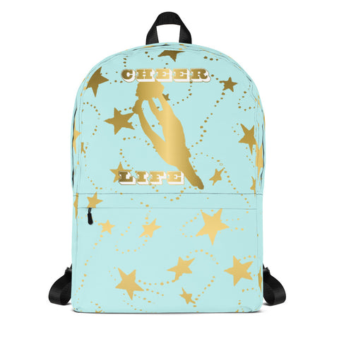 Cheer Life Silhouette in Gold with Gold Stars- Style 13- Backpack-Great for Teams and Squads