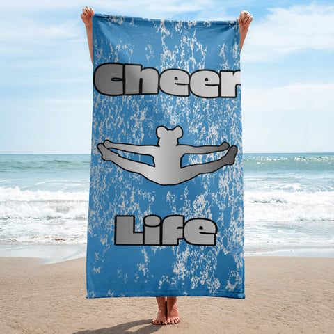 Cheer Life Blue and Silver Flake Beach Towel with Toe Touch Silhouette