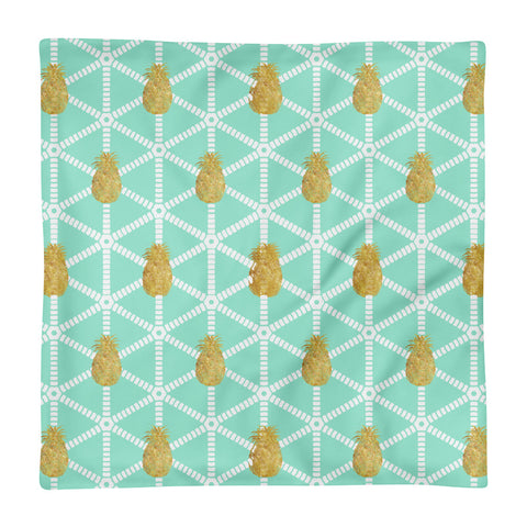 Mint and Gold Pineapple Square Pillow Case only