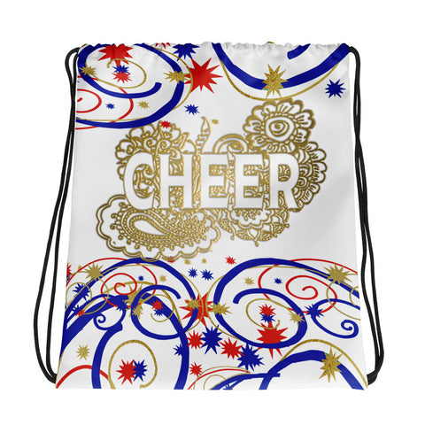 Cheer Swirls and Stars Drawstring Bag- Great for Teams and Squads-Style 3
