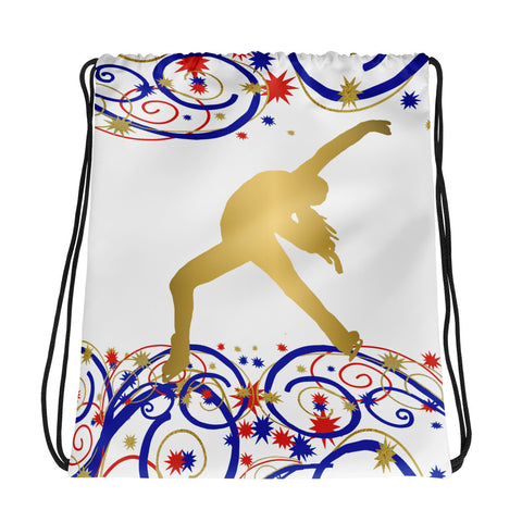 Figure Skater Silhouette in Swirls and Stars Red, White, and Blue- Cinch Bag-Makes Great Team/Club Bag