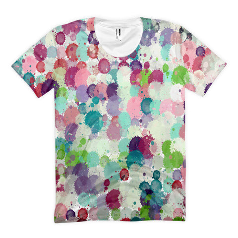 Multi Color Splatter Paint Women's Sublimation T-shirt