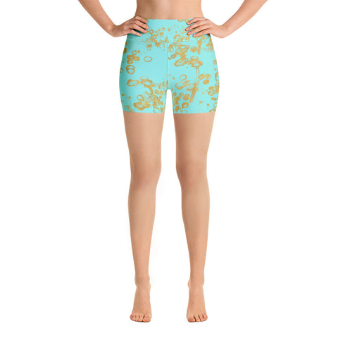 Aqua and Gold Flake Women's -Yoga Shorts
