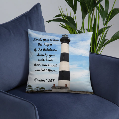 Bodie Island Lighthouse Features Psalm 10-17-Double Sided Throw Pillow
