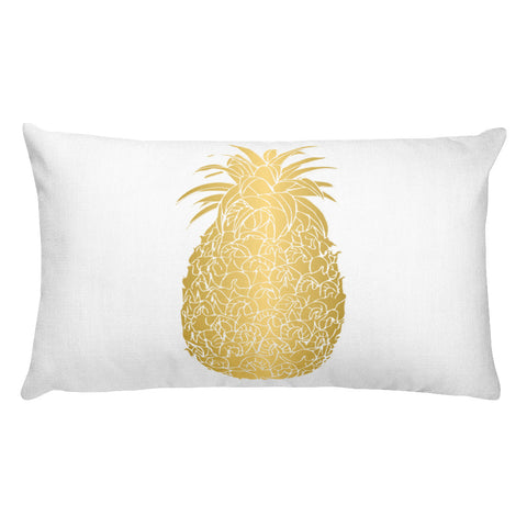 Gold Pineapple Rectangular Throw Pillow Style 2