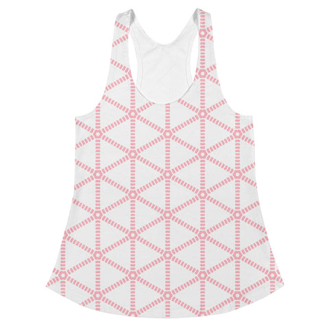 White with Pink Grid Design -Women's Racerback Tank