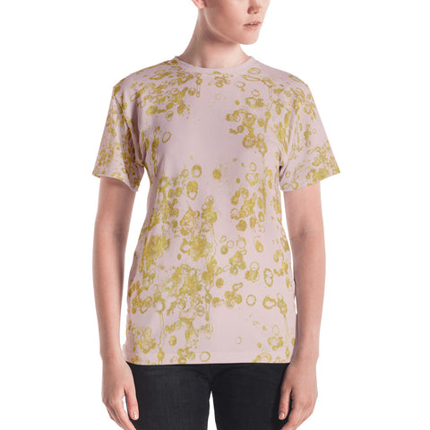 Women's T-shirt In Pink and Gold Flake