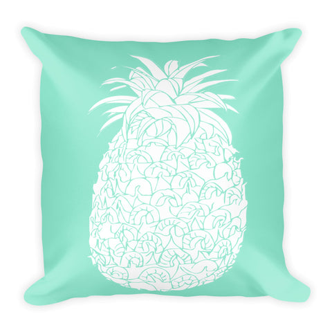 Mint and Large White Pineapple Square Pillow