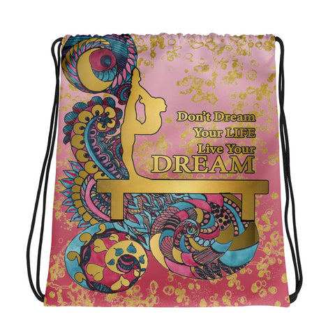 Gymnastics Live your Dream in Gold and Rose Gradient  Cinch Sak- Great for Teams or Groups