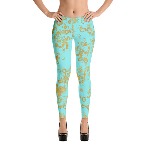 Aqua and Gold Flakes Women's Leggings