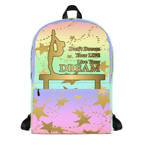 Gymnastics Live your Dream Pastel Rainbow Backpack- Great for Teams or Groups